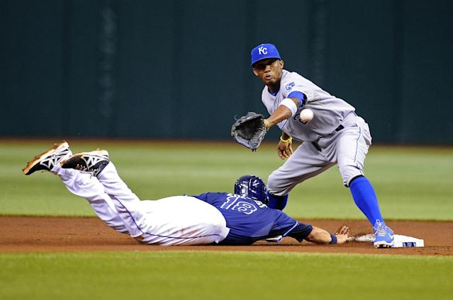 Tampa Bay Rays' Ben Zobrist, left, beats the throw back to second base ahead of Kansas City Royals shortstop Alcides Escobar after leading off during the second inning of a baseball game Saturday, June 15, 2013, in St. Petersburg, Fla. (AP Photo/Brian Blanco)