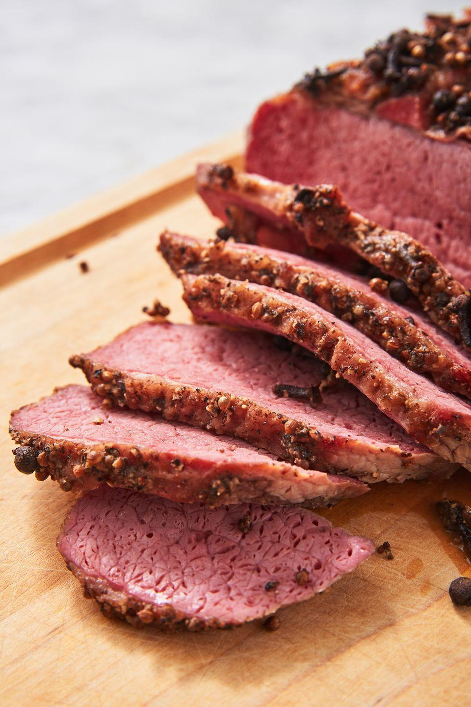 """<p>Corned beef isn't *just* for St. Patrick's Day. </p><p>Get the recipe from <a href=""""https://www.delish.com/cooking/recipe-ideas/a26413859/corned-beef-brisket-recipe/"""" rel=""""nofollow noopener"""" target=""""_blank"""" data-ylk=""""slk:Delish"""" class=""""link rapid-noclick-resp"""">Delish</a>.</p>"""