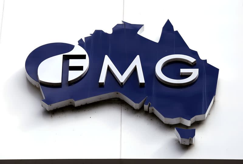 File photo of the logo of Fortescue Metals Group adorning their headquarters in Perth, Australia