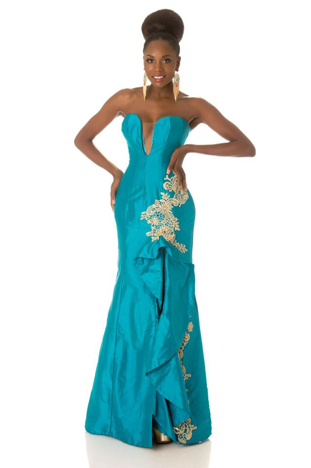 Miss Angola 2012, Marcelina Vahekeni, poses in her evening gown at Planet Hollywood Resort and Casino, in Las Vegas, Nevada. She will spend the next few weeks touring, filming, rehearsing, and making new friends while she prepares to compete for the coveted Miss Universe Diamond Nexus Labs Crown.