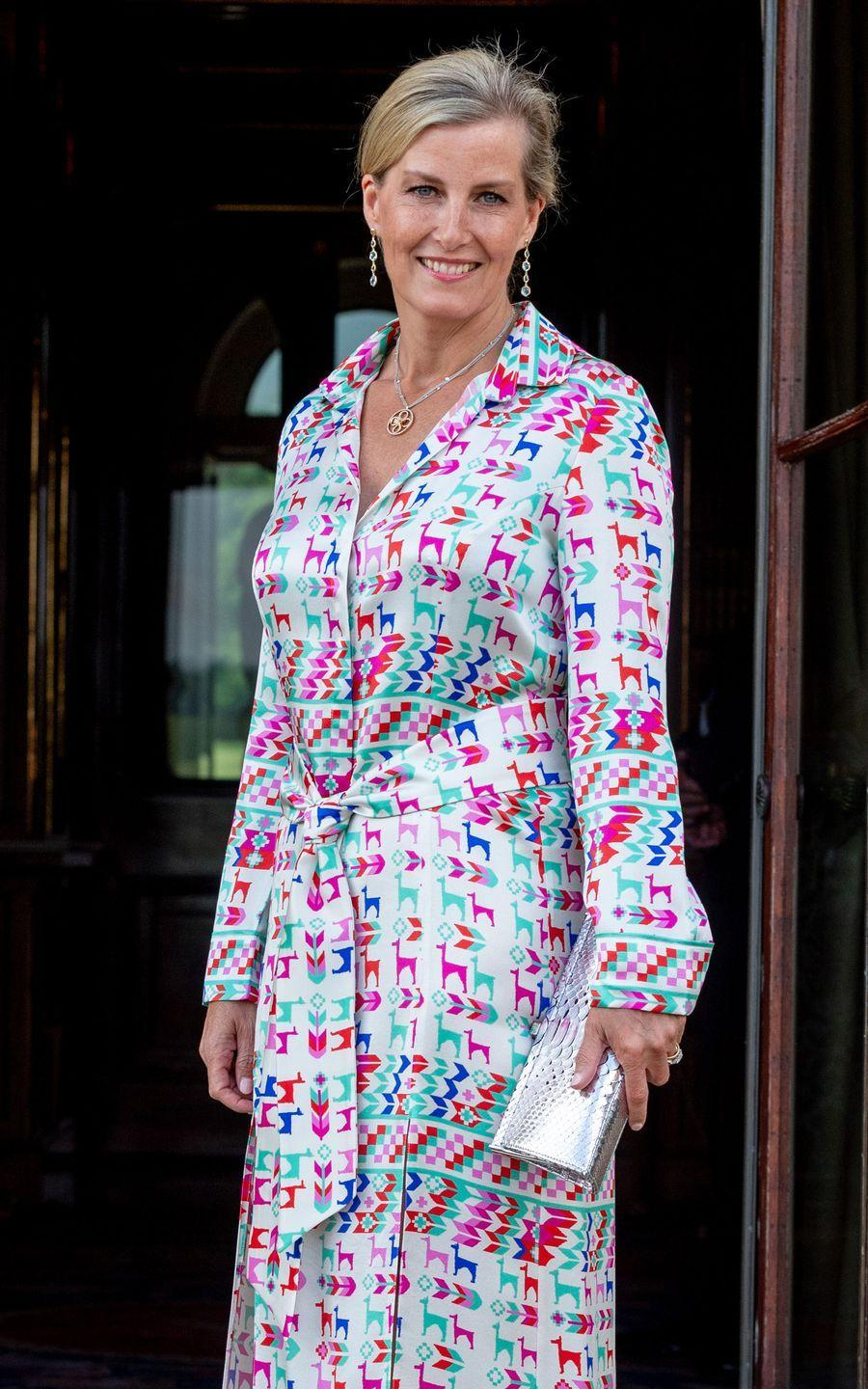 <p>The Countess of Wessex chose a colorful look for a charity reception and dinner at Harewood House in Leeds.</p>
