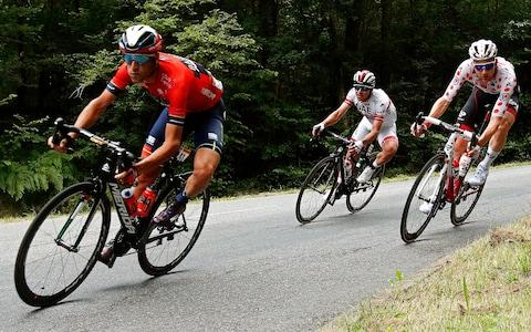 <span>Vincenzo Nibali (left to right), Sergio Henao and Tim Wellens got in the early breakaway</span> <span>Credit: EPA </span>