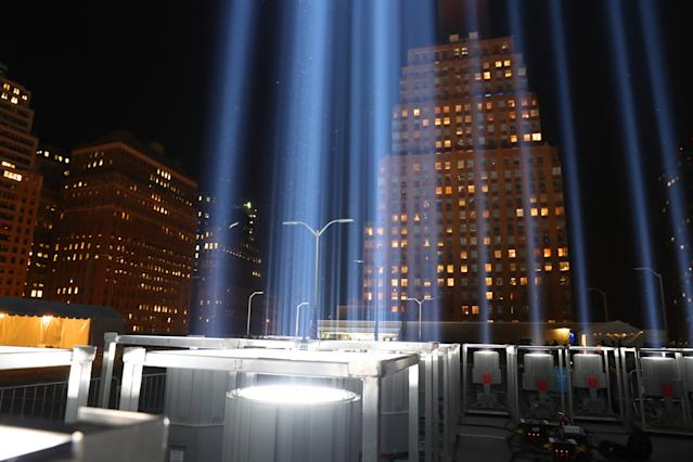 <p>The Tribute in Light art installation consists of 88 searchlights that create two vertical columns of light on Sept. 11, 2017. (Gordon Donovan/Yahoo News) </p>