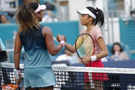 Mar 23, 2019; Miami Gardens, FL, USA; Su-Wei Hshieh of Chinese Taipei (R) shakes hands with Naomi Osaka of Japan (L) after their match in the second round of the Miami Open at Miami Open Tennis Complex. Mandatory Credit: Geoff Burke-USA TODAY Sports