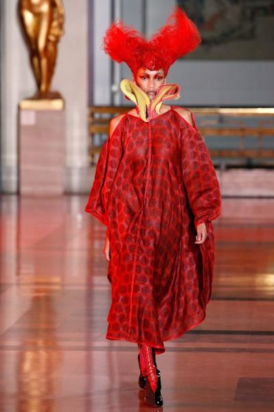 Vibrant pink, red, and blue hues were everywhere at Yuima Nakazato, who showed ample printed dresses that were open at the shoulder. Every look was more futuristic than the last. Paris, January 23, 2020