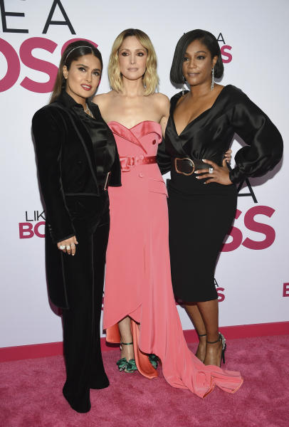"""Actors Salma Hayek, from left, Rose Byrne and Tiffany Haddish attend the world premiere of """"Like a Boss"""" at the SVA Theatre on Tuesday, Jan. 7, 2020, in New York. (Photo by Evan Agostini/Invision/AP)"""