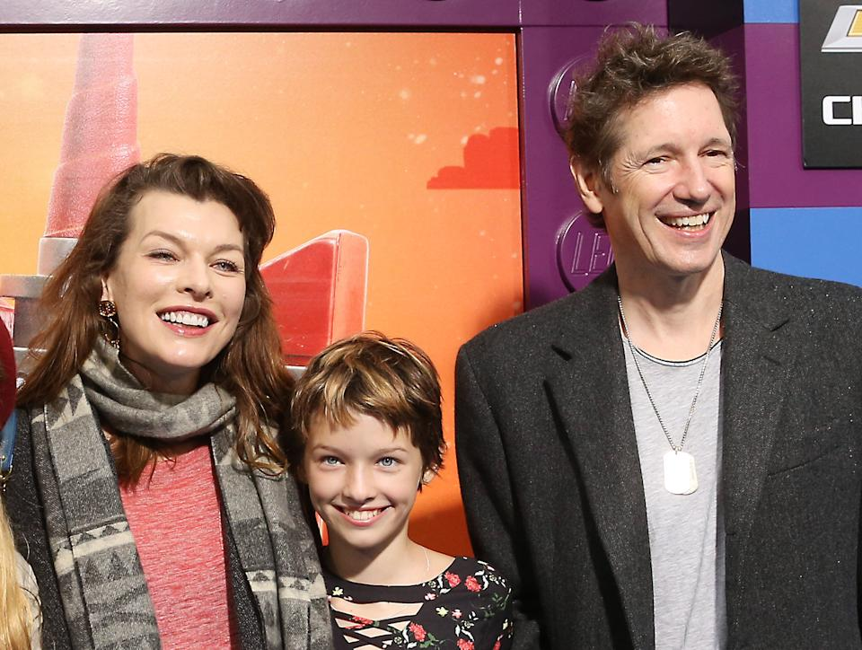 WESTWOOD, CALIFORNIA - FEBRUARY 02: Milla Jovovich and Wes Anderson with their daughter, Ever Gabo Anderson attend the Los Angeles premiere of Warner Bros. Pictures'