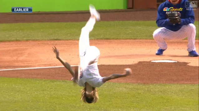 Gymnast Nastia Liukin knows how to spice up a first pitch. (MLB.com Screenshot)