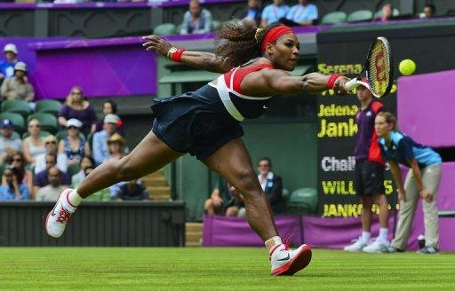 Serena Williams of the US returns to Serbia's Jelena Jankovic