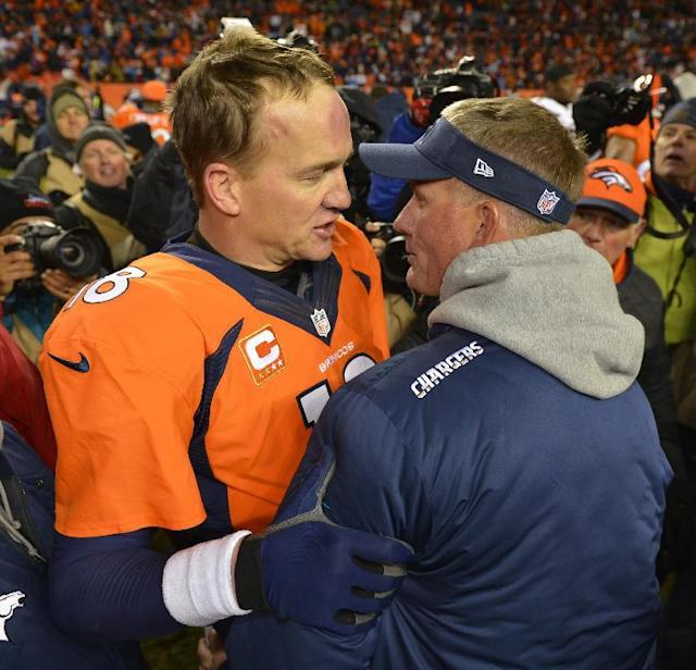 Denver Broncos quarterback Peyton Manning, left, greets San Diego Chargers coach Mike McCoy after the Broncos beat the Chargers 24-17 in an NFL AFC division playoff football game, Sunday, Jan. 12, 2014, in Denver. (AP Photo/Jack Dempsey)