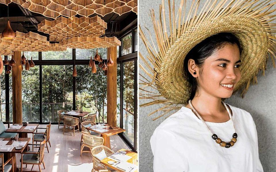 From left: The Tree restaurant at Six Senses Krabey Island; a staff member at All Villas Koh Russey, one of several private-island resorts off mainland Cambodia.   Christopher Wise