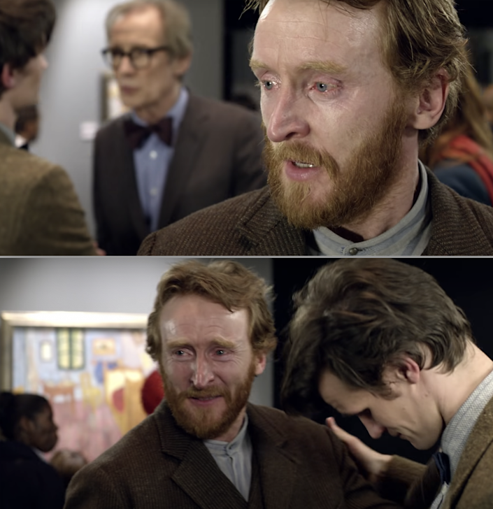 Van Gogh crying in present-day London at an art gallery