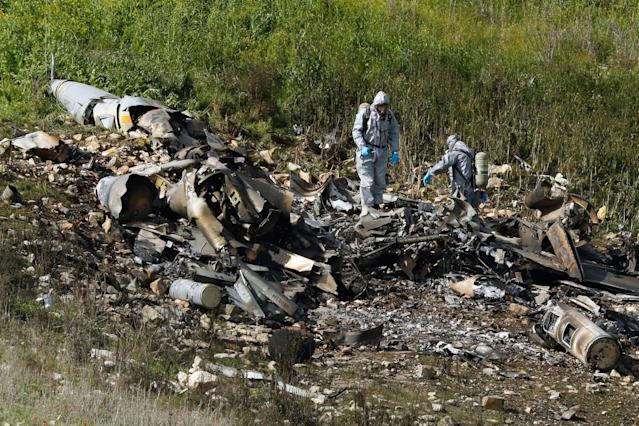 "<p>A picture taken in the northern Israeli Kibbutz of Harduf on Feb. 10, 2018, shows the remains of an Israel F-16 that crashed after coming under fire by Syrian air defences during attacks against ""Iranian targets"" in the war-torn country. (Photo: Jack Guez/AFP/Getty Images) </p>"