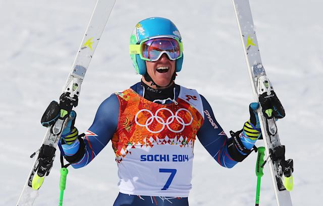 SOCHI, RUSSIA - FEBRUARY 19: Ted Ligety of the United States celebrates during the Alpine Skiing Men's Giant Slalom on day 12 of the Sochi 2014 Winter Olympics at Rosa Khutor Alpine Center on February 19, 2014 in Sochi, Russia. (Photo by Alexander Hassenstein/Getty Images)