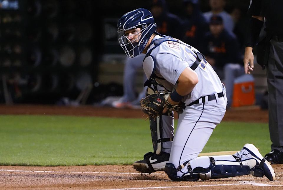 Tigers catcher Grayson Greiner covers home plate during the second inning of the Tigers' 5-4 win on Friday, Sept. 6, 2019, in Oakland, Calif.