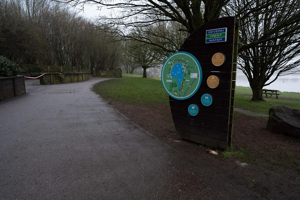 The entrance to the Foremark Reservoir in Derbyshire (swns)