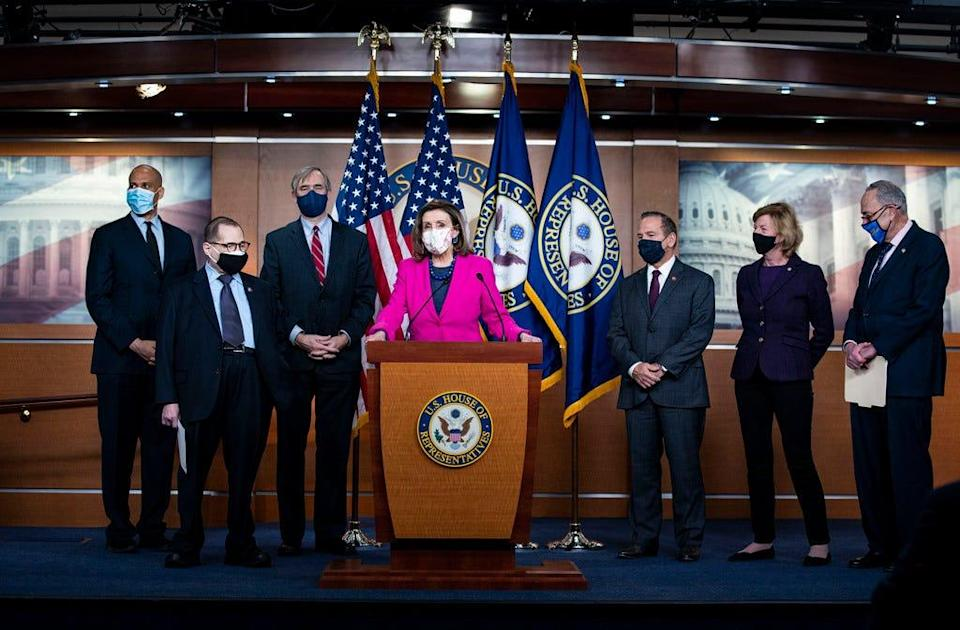 House Speaker Nancy Pelosi and fellow Democratic lawmakers hold a news conference ahead of the House vote on the Equality Act.