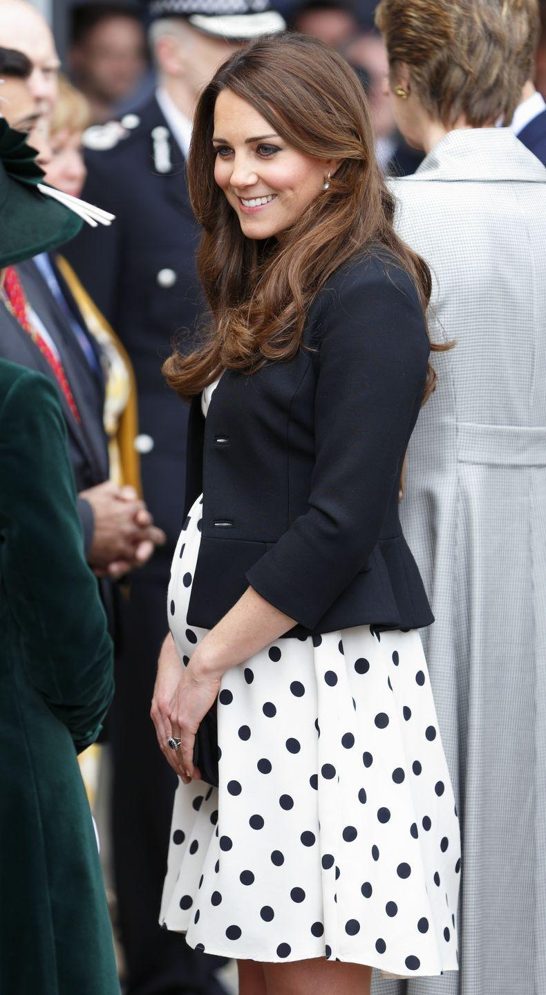 <p>We'd like to think that Kate Middleton drew inspiration from her late mother-in-law for this maternity ensemble. The Duchess of Cambridge wore polka dots, much like Princess Diana did during her first pregnancy, with this A-line shift dress. </p>