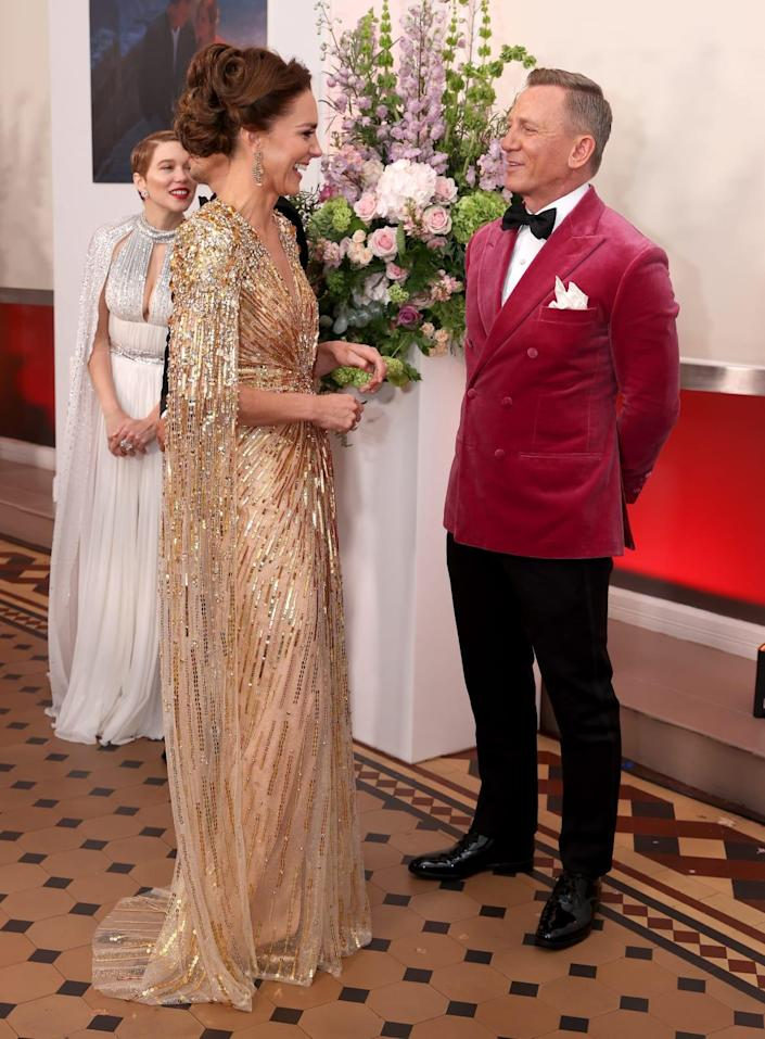 """<div class=""""inline-image__caption""""><p>Catherine, Duchess of Cambridge meets actor Daniel Craig as she attends the """"No Time To Die"""" World Premiere at Royal Albert Hall on September 28, 2021 in London, England.</p></div> <div class=""""inline-image__credit"""">Chris Jackson/Getty Images</div>"""