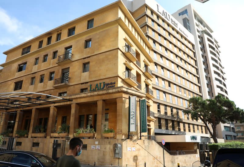 The building of Lebanese American University's Medical Center-Rizk Hospital is pictured in Beirut