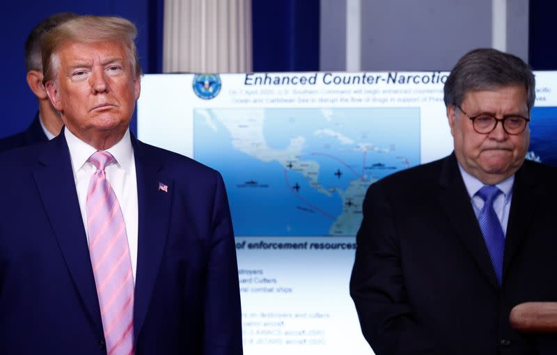 U.S. President Trump and his administration announce moves against Venezuela at coronavirus response briefing at the White House in Washington