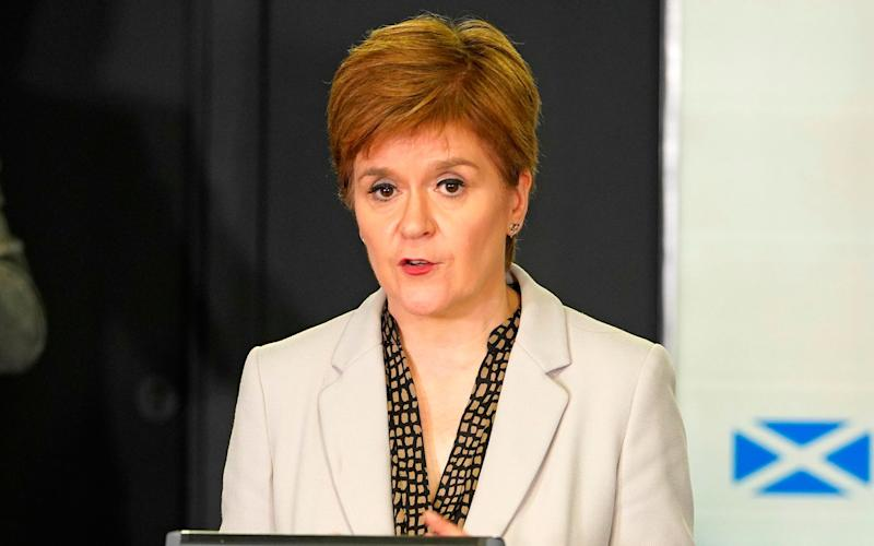 Scotland's First Minister, Nicola Sturgeon speaking during the Scottish Government's daily briefing last Thursday - AFP