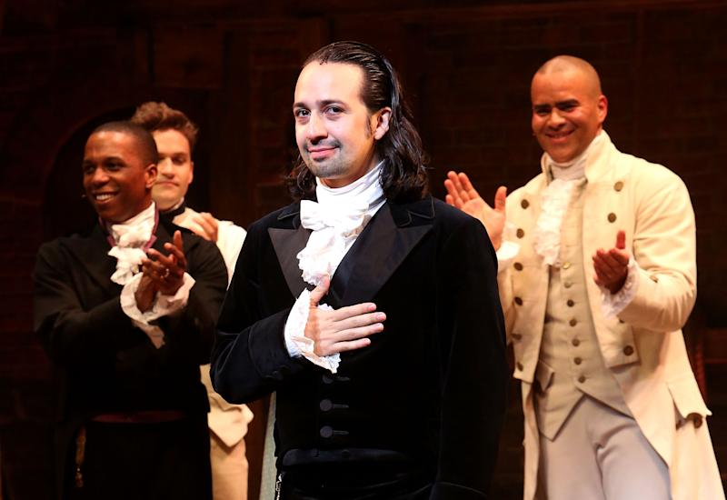 "NEW YORK, NY - JULY 09: Lin-Manuel Miranda performs his final performance as ""Alexander Hamilton"" in ""Hamilton"" on Broadway at The Richard Rogers Theatre on July 9, 2016 in New York City. (Photo by Bruce Glikas/Bruce Glikas/FilmMagic)"
