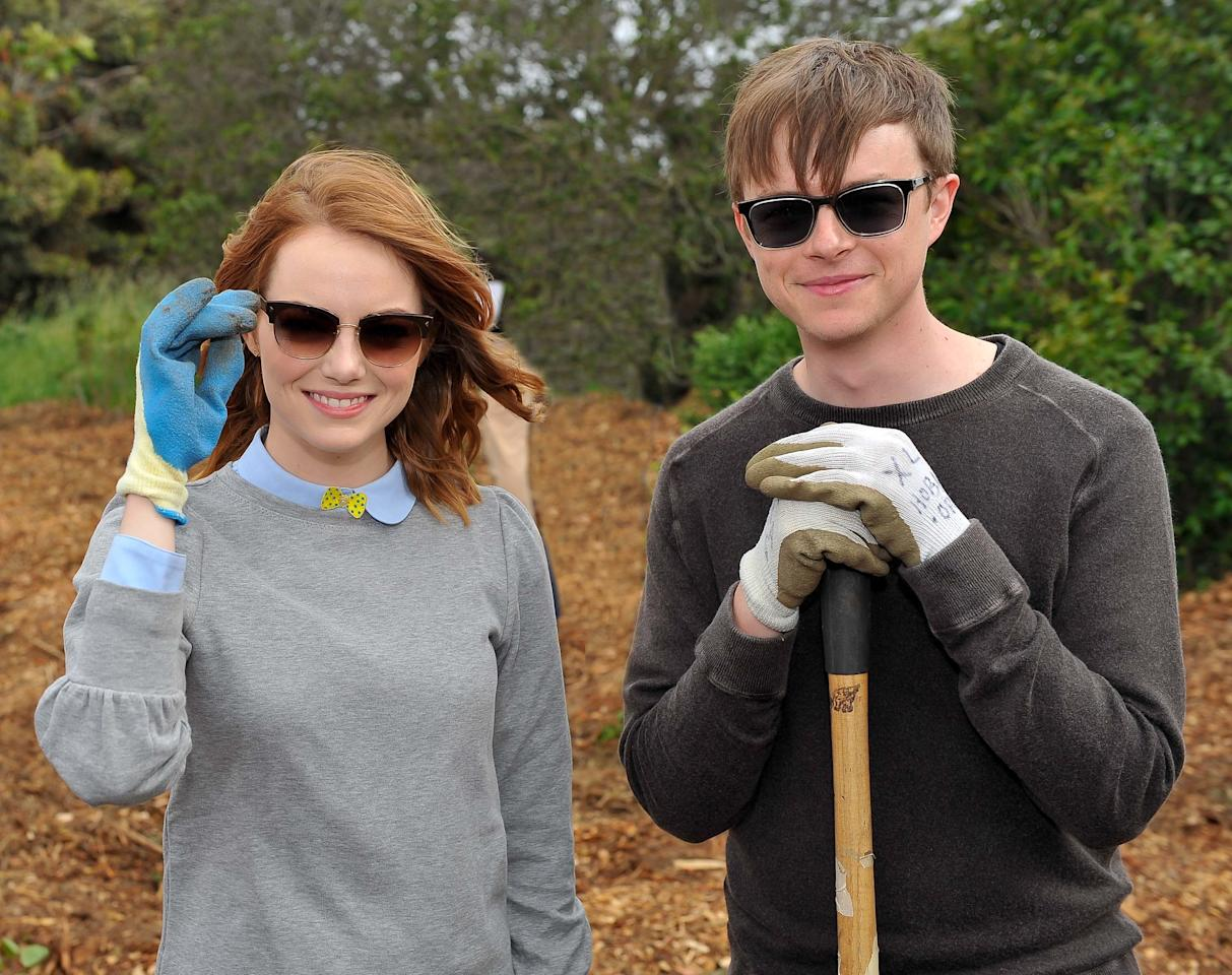 <p>Dane DeHaan showed off his softer side in a casual long-sleeve shirt and sunglasses while volunteering with fellow Spider-Man star Emma Stone.</p>