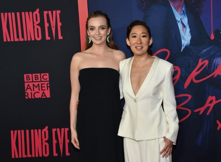 "Sandra Oh (R) became the first actress of Asian descent nominated for the Emmy for best lead actress in a drama in 2018 -- her toughest competition this year may be her ""Killing Eve"" co-star, British actress Jodie Comer (L)"