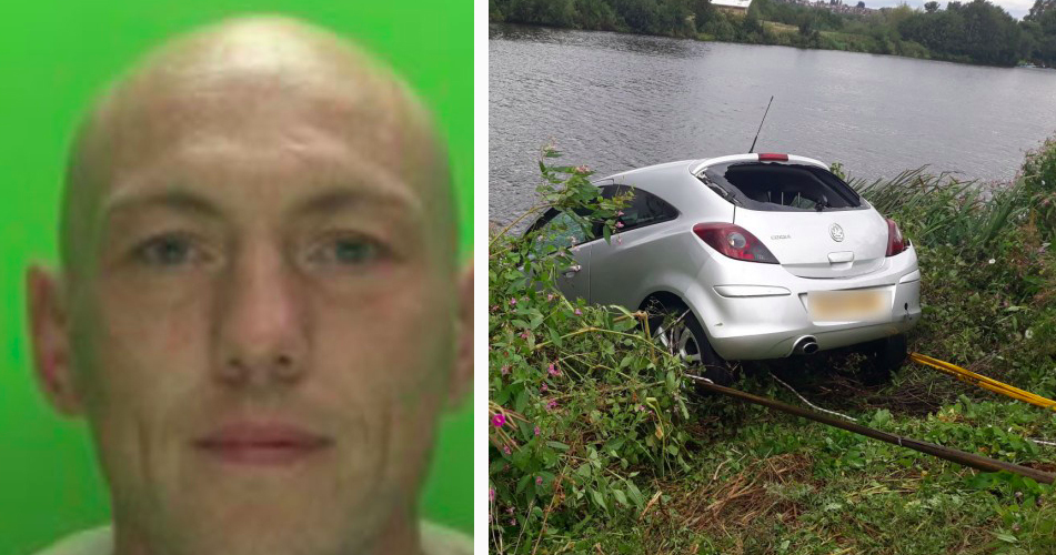 Daniel Galloway has been jailed after driving his car into a river during a police chase. (SWNS)