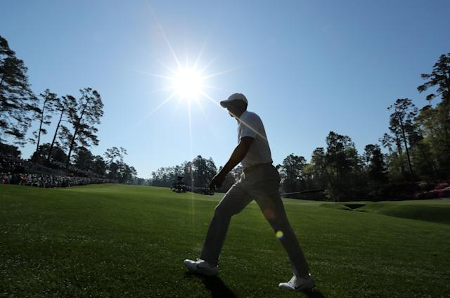 Tiger Woods of the U.S. walks to the 14th hole during the second day of practice for the 2018 Masters golf tournament at Augusta National Golf Club in Augusta, Georgia, U.S. April 3, 2018. REUTERS/Lucy Nicholson