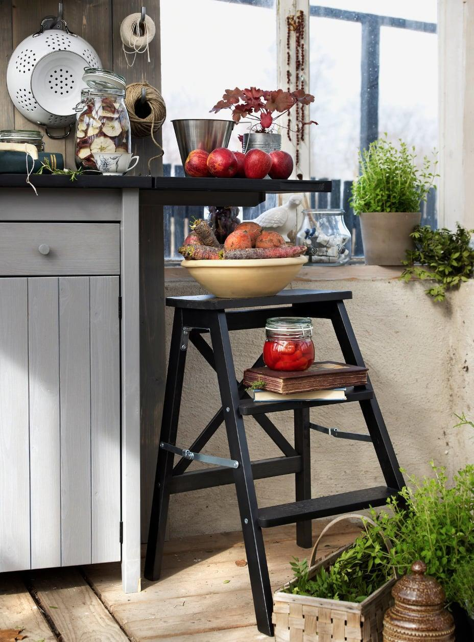 "<p>Give your step stool a new purpose with this <a href=""https://www.popsugar.com/buy/Bekv%C3%A4m%20Stepladder-447022?p_name=Bekv%C3%A4m%20Stepladder&retailer=ikea.com&price=40&evar1=casa%3Aus&evar9=46151613&evar98=https%3A%2F%2Fwww.popsugar.com%2Fhome%2Fphoto-gallery%2F46151613%2Fimage%2F46152212%2FBekv%C3%A4m-Stepladder&list1=shopping%2Cikea%2Corganization%2Ckitchens%2Chome%20shopping&prop13=api&pdata=1"" rel=""nofollow noopener"" target=""_blank"" data-ylk=""slk:Bekväm Stepladder"" class=""link rapid-noclick-resp"">Bekväm Stepladder</a> ($40). Use it to store herbs, fruit baskets, and fresh vegetables.</p>"