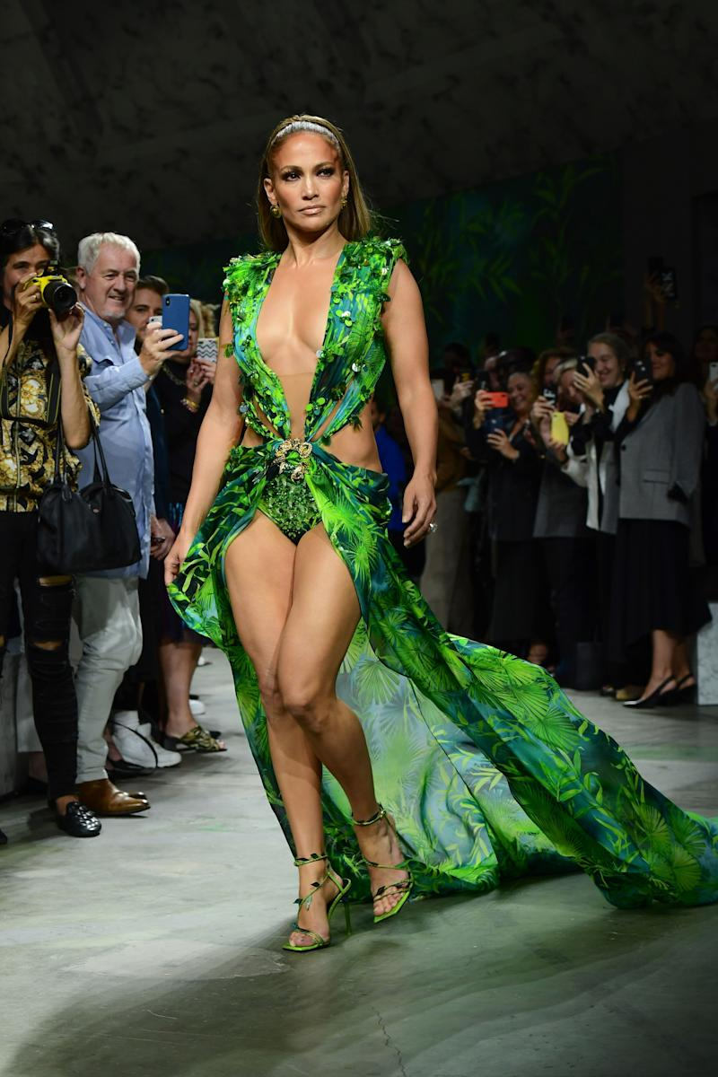 Jennifer Lopez walks the runway at the Versace presentation during Milan Fashion Week on Sept. 20. (Photo: Miguel MEDINA / AFP) (Photo: MIGUEL MEDINA/AFP/Getty Images)