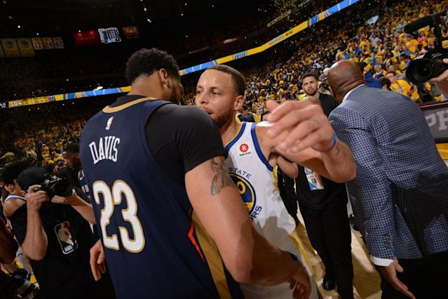 "It is exceedingly unlikely that the next time <a class=""link rapid-noclick-resp"" href=""/nba/players/5007/"" data-ylk=""slk:Anthony Davis"">Anthony Davis</a> and <a class=""link rapid-noclick-resp"" href=""/nba/players/4612/"" data-ylk=""slk:Stephen Curry"">Stephen Curry</a> embrace after a game, they will be wearing the same uniform. (Getty)"