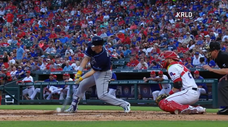 Corey Dickerson had no business doubling on this pitch. (MLB.com Screenshot)