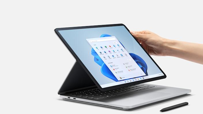 The Surface Laptop Studio features a display that can move from laptop mode to canvas mode. (Image: Microsoft)