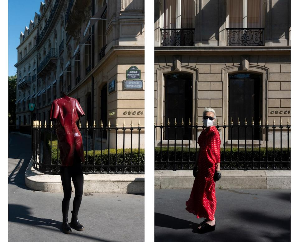 "<div class=""caption""> Wearing Balenciaga by Nicolas Ghesquière and Balenciaga by Demna Gvasalia in front of the Gucci store. </div>"