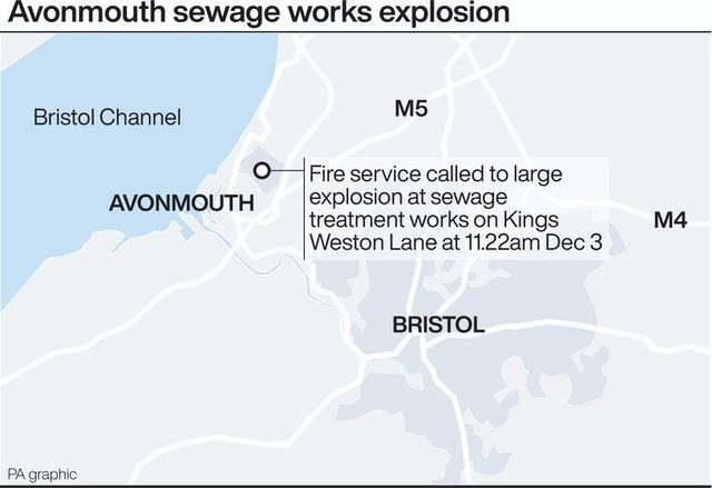 Graphic locates large explosion at sewage treatment works