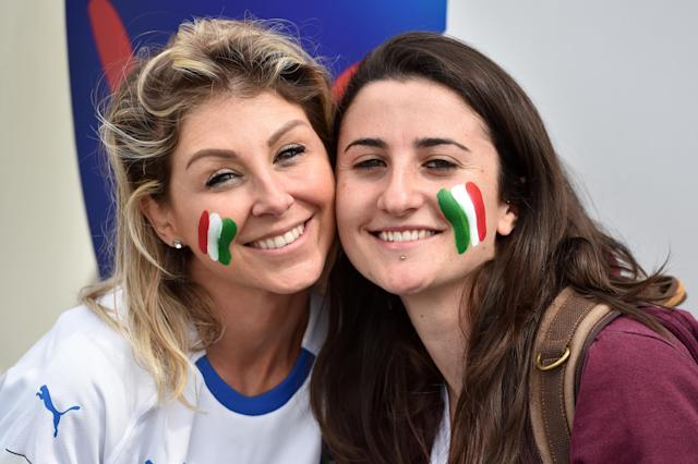 Fans of Italy show their support during the 2019 FIFA Women's World Cup France group C match between Australia and Italy at Stade du Hainaut on June 09, 2019 in Valenciennes, France. (Photo by Tullio M. Puglia/Getty Images)