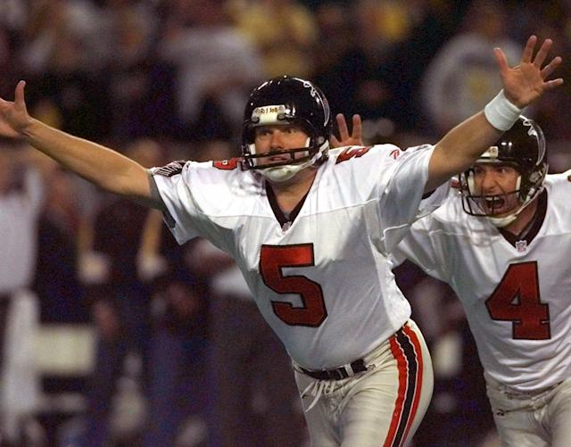 "It's good! Morten Andersen celebrates his 38-yard field goal in overtime of the 1998 NFC championship game, a kick that sent the <a class=""link rapid-noclick-resp"" href=""/nfl/teams/atl/"" data-ylk=""slk:Atlanta Falcons"">Atlanta Falcons</a> to their first Super Bowl. (AP)"
