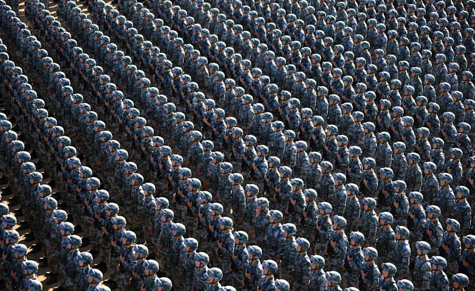 <p>Troops make preparation for a military parade in the <span>Inner Mongolia Autonomous Region, China. (Rex features)</span> </p>