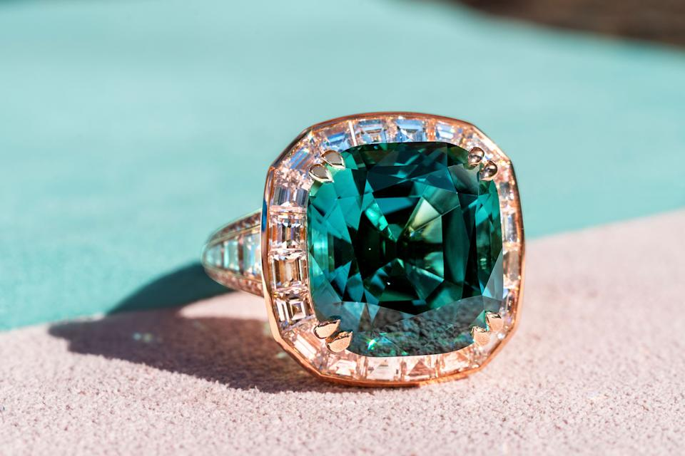 Maddy's Indicolite Ring with Custom-Cut Diamonds. (PHOTO: Madly Gems)