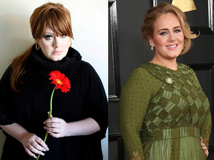 Adele in 2008 and at the Grammys in 2017.