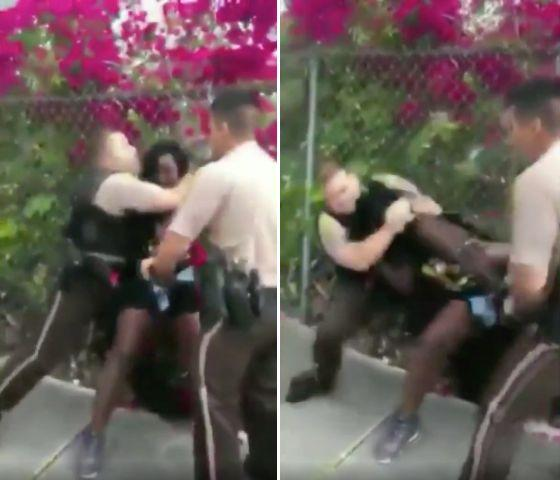 Video shows an officer placing 26-year-old Dyma Loving in a headlock and forcing her to the ground after accusing her of disorderly conduct. (Photo: )