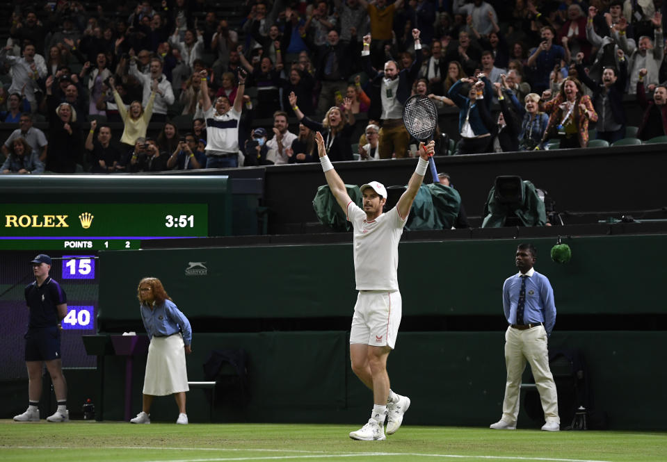 Two-time SW19 champion Murray, 34, sent the Centre Court crowd into raptures under the Wednesday night lights