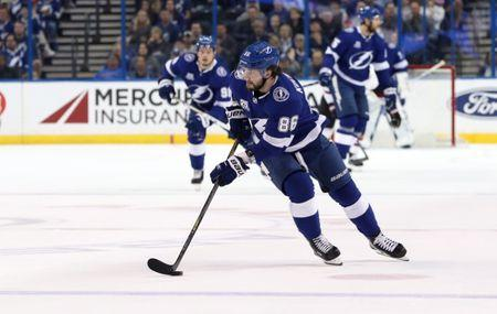 Mar 26, 2018; Tampa, FL, USA; Tampa Bay Lightning right wing Nikita Kucherov (86) skates with the puck against the Arizona Coyotes during the first period at Amalie Arena. Mandatory Credit: Kim Klement-USA TODAY Sports