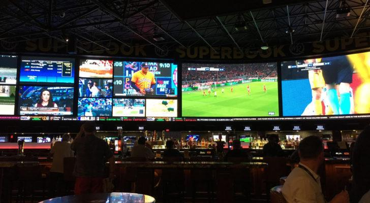 Interior of a sports gambling facility in Las Vegas. sports betting stocks