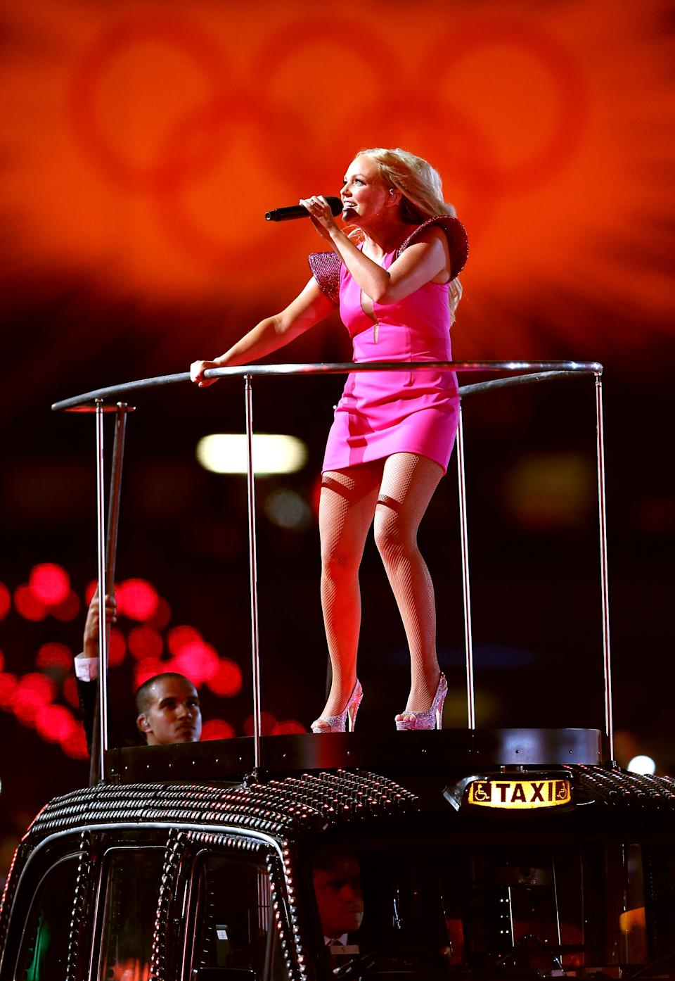 Emma Bunton of Spice Girls performs during the Closing Ceremony on Day 16 of the London 2012 Olympic Games at Olympic Stadium on August 12, 2012 in London, England. (Photo by Scott Heavey/Getty Images)