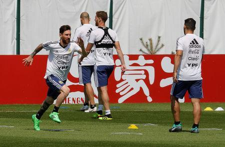Soccer Football - World Cup - Argentina Training - Bronnitsy, Moscow Region, Russia - June 23, 2018. Lionel Messi attends a training session. REUTERS/Tatyana Makeyeva
