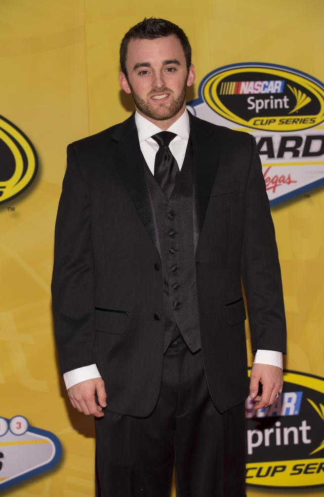 Austin Dillon arrives at The NASCAR Sprint Cup Series auto racing awards ceremony Friday, Dec. 6, 2013 at The Wynn Resort & Casino in Las Vegas. (AP Photo/Eric Jamison)